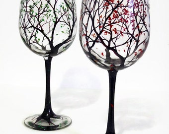 Wine Glasses Hand Painted Tree Falling Leaves Autumn Fall Seasonal Stemware Custom Colors Unique Wedding Gift Bridal Shower Engagement Ombre