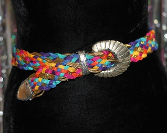 80's Multi Color Belt with Silver Buckle