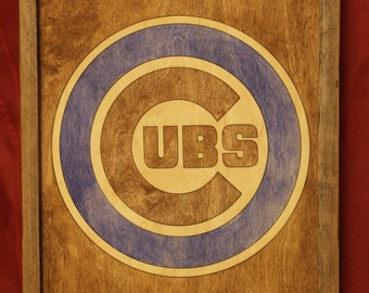Chicago Cubs Wooden Inlay Wall Art