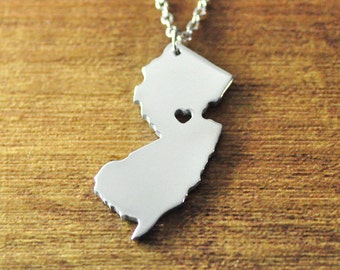 I heart New Jersey map Necklace, State Charm Jewelry, Silver Personalized necklace, State map necklace,Custom any map, New Jersey jewelry