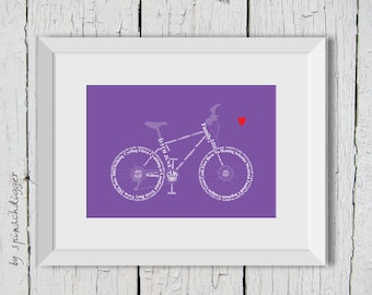 Bicycle personalised print, Bicycle Print, Custom Bike Print, Gift for cyclist, ready to frame, Mothers Day Gift