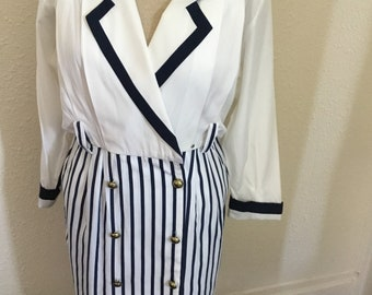 80's Vintage White & Blue Striped Dress