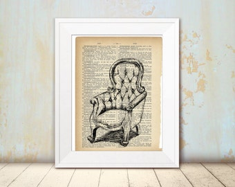 Dictionary art print, Antique armchair, Printable kitchen decor, DIY home decor, Hostess gift, Line art