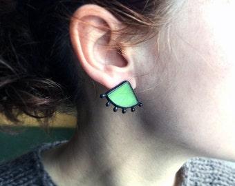Green Triangle Stud Earrings, Grass Stained Glass Jewelry, Black Drop, Everyday Jewellery, Spring Green Earrings