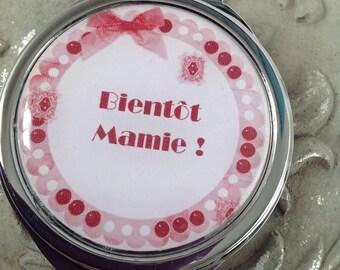 "Mirror, birth, ""Grandma soon"" gift, Red"
