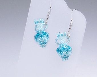 Aqua bottle earrings, aqua earrings, aqua beaded earrings, summer earrings, aqua boho earrings, beaded vase earrings, beaded pot, 1201