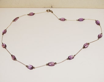 "Vintage Sterling Silver Genuine Amethyst Rock Crystal Stone 17"" Necklace."