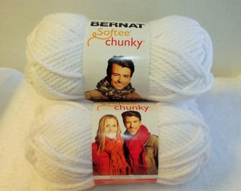 Bernat Softtee Chunky Yarn, White Bernat Yarn, White Chunky Yarn, White Bulky Yarn, Bulky White Yarn, Bernat Yarn, Bernat Softee