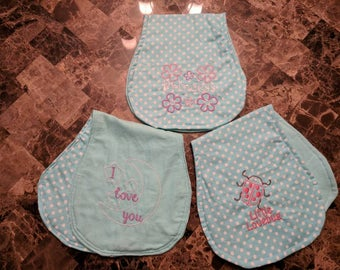 Embroidered flannel burp cloths