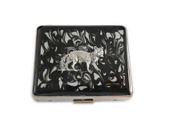 7 Day Pill Box Fox Inlaid in Hand Painted Black Enamel Ink Swirl Design Woodland Inspired Personalized and Color Options