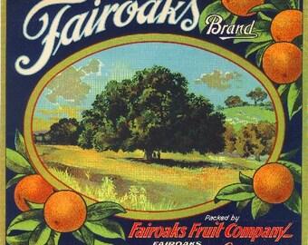 Fairoaks Sacramento County Orange Citrus Fruit Crate Box Label Art Print