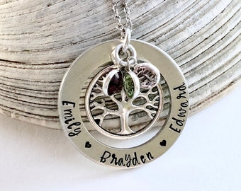 Personalized mom necklace-hand stamped jewelry- grandma- necklace- name necklace- kids name necklace- grandchildren jewelry- Mother's Day
