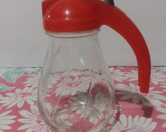 Vintage Hazel Syrup Pitcher with Red Top