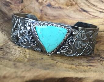 Hubei Turquoise Aztec Design Hand Stamped Antiqued Sterling Silver Cuff Bracelet, Aztec Inspired, Tropical Cuff, Bohemian Cuff, Boho Cuff,
