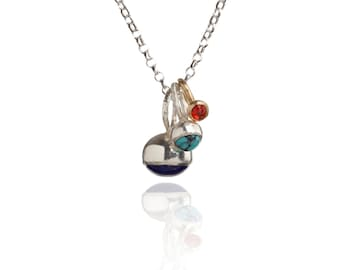 Silver and Gold Gemstone Cluster Necklace : Ancient Awe