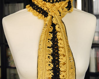 Crochet Lace Scarf Yellow and Black 175x15cm (68.9x5.9in), 100% Cotton