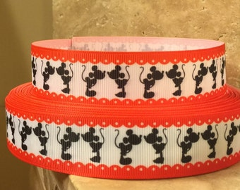 "5 YDS Kissing Mickey Mouse Minnie Mouse Ribbon (1"") **REMNANT**"