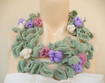 Sage Green Scarf-Leaves  Necklace Scarf-Lariat Scarf-Handmade Long Scarf with Flowers