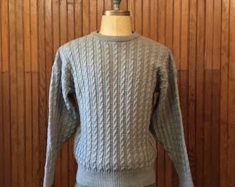 LL Bean Medium Irish Worsted Wool Cable Knit Sweater Fisherman Gray Men's Vintage Made In Ireland