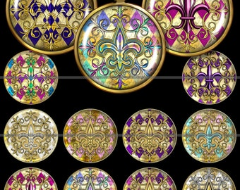 Harlequin Fleur de lis Pendant Images, Fleur de lis Round Digital Images, Round Circle Images Resizable 1, 1.5, 2 inch, Commerical Use