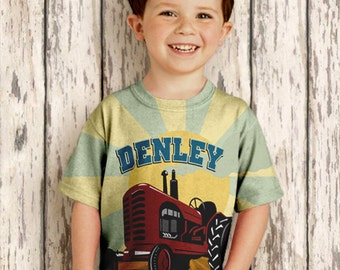 Personalized Tractor Shirt, Boys Farmer Birthday T-Shirt, Farm Red Tractor Shirt
