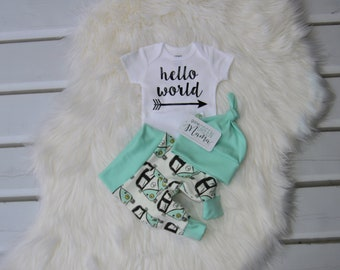 Hello world newborn outfit, baby boy outfit, newborn baby outfit, newborn boy outfit, baby take home outfit, coming home outfit, hello world