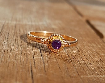 Rose gold ring with Amethyst ring size EU 50 / ring size US size 5
