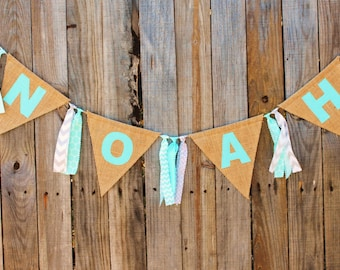 Custom Name Banner, Personalized Burlap Bunting, Customized With Your Name and Colors