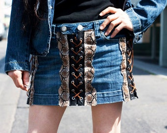 Vintage American Eagle Jean Skirt with Snake Skin, Faux Leather and Lace Heavy Metal