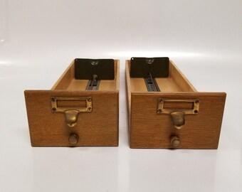 Vintage Card Catalog Library Wooden Drawers Index Card Filing Cabinet Index Drawer Decor