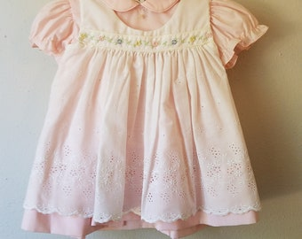 Vintage Baby Girls pink Dress and White Pinafore with Floral Trim and bloomers - Size 6 months-  New, never worn