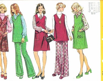 """Vintage 1973 Simplicity 5932 Maternity Jumper or Tunic and Pants Sewing Pattern Size 14 - 16 Bust 36"""" - 38"""" UNCUT"""