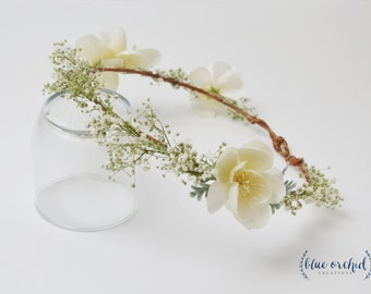 Baby's Breath Flower Crown, Dried Baby's Breath, Flower Crown, Boho Flower Crown, Dried Flowers, White Flower Crown, Baby's Breath Crown