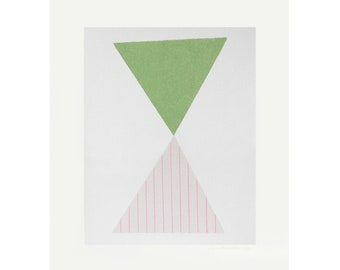 minimal abstract original screenprint, mid century modern, pink and green by Emma Lawrenson
