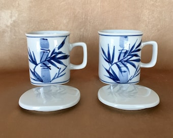 Teacups with Lids, Asian Lidded Teacups, Chinoiserie Bamboo, Blue White, Asian Design Mugs, Vintage Tea Mugs, Mothers Day Gift, Blue Bamboo
