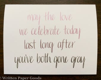 Wedding Congratulations Card - Congrats Newlyweds - Happy Couple - Ombré Hand Lettering - Straight/Gay/Lesbian Love is Love is Love