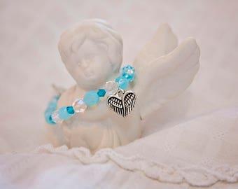 Baby boy angel bracelet, angel wing jewelry, wing charm bracelet, mommy to an angel, angel baby jewelry, angel baby bracelet, miscarriage