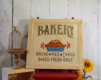 Large Handmade Wooden Bakery Sign, Bakery Sign, Kitchen Decor, Bakery, Vintage Style Bakery Sign, Pie Sign, Cake Sign, Kitchen Sign