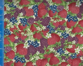 Strawberries & Berries Fabric Quilting Crafting Home Decor