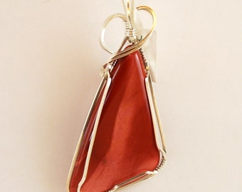 "Red Jasper (or Mookaite) Triangle pendant Sterling Silver 2 3/4"" x 1 1/4"" Polished Both Sides P292"