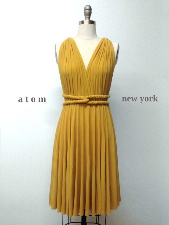 Senf gelb unendlich kurzen Kleid Cabrio formale Mehrwege-Wrap
