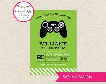 Gaming Birthday, Gaming Birthday Invitation, Gaming Printables, Gaming Birthday Decorations, Lauren Haddox Designs