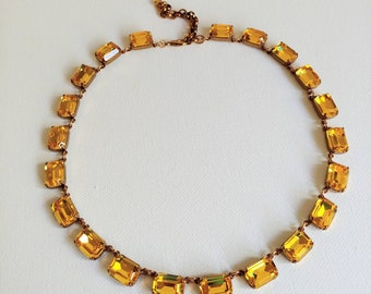Topaz rhinestone necklace,Georgian Paste,Yellow bridesmaid necklace,antique gold choker,wedding necklace,glamour necklace,party jewelry
