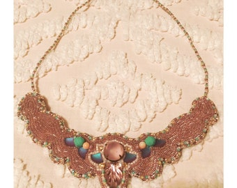Lavendar Bead Embroidered Bib Necklace