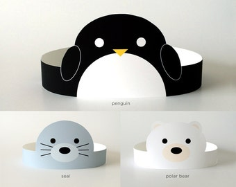 Arctic Baby Shower Supplies/Decor/Decorations | Face Masks for Kids/Girl/Boy | Paper Crown DIY Hats | Animals: Penguin, Seal, Polar Bear