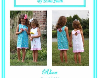 Girls Dress  Pattern / A-Line / Sleeveless / Button Back / Key Hole Tie / Rhea from Trisha's Treasures.