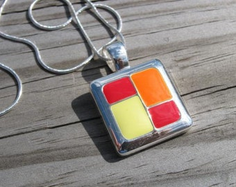 SALE- Red, Yellow, Orange Necklace- Geometric Fire Necklace