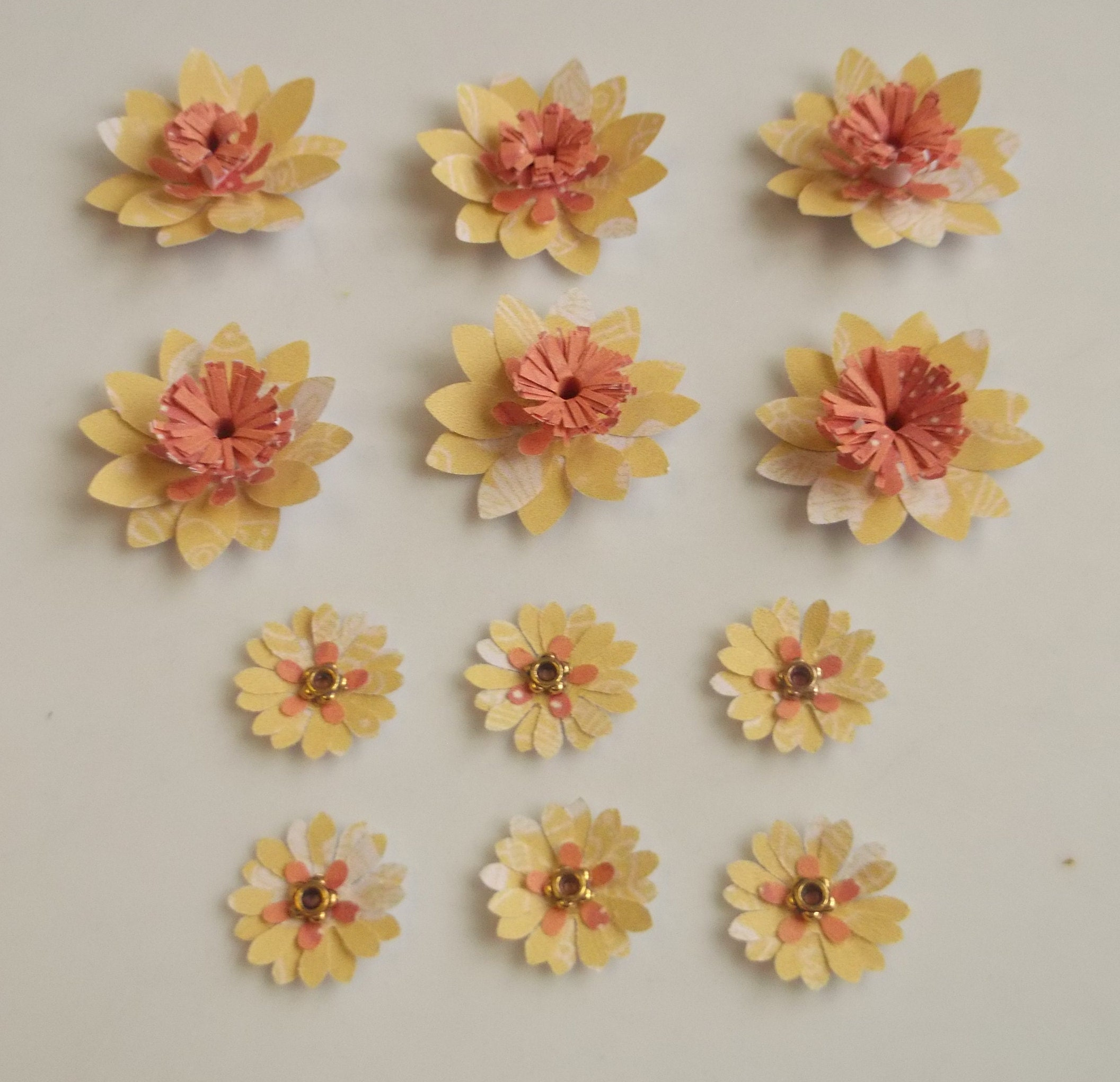 Pack Of 12 Paper Flowers Flower Embellishments Flower Card