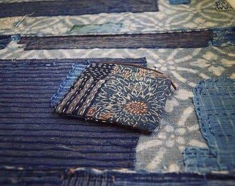 Handmade boro sashiko coin purse