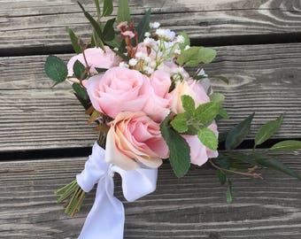 Bridal bouquet, wedding bouquet, silk flower bouquet, blush roses